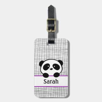 Etiqueta púrpura linda del equipaje del oso de etiqueta de maleta