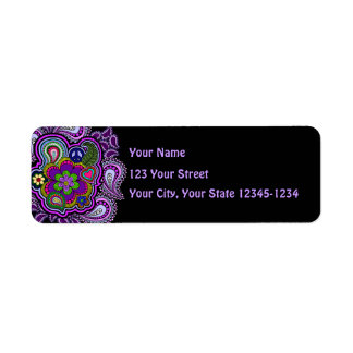 Etiqueta púrpura psicodélica del remite de Paisley Etiqueta De Remite