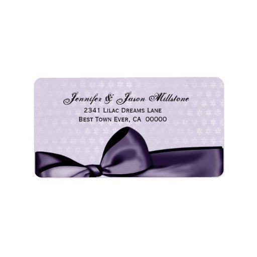 Etiqueta púrpura romántica del boda del arco y del etiqueta de dirección