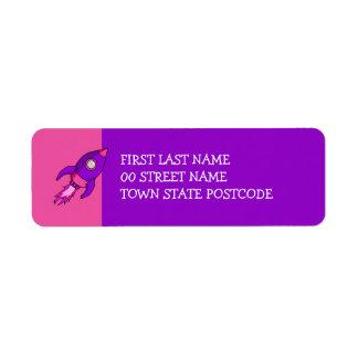 Etiqueta púrpura rosada del remite de Rocket Etiquetas De Remite