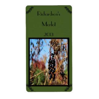 Etiqueta púrpura salvaje del vino de las uvas etiqueta de envío