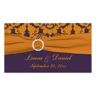 Etiqueta púrpura y anaranjada del favor del boda tarjetas de visita