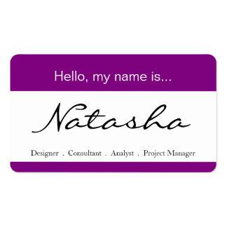 Etiqueta púrpura y blanca del nombre corporativo -