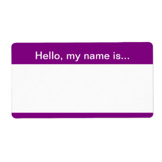 Etiqueta púrpura y blanca del nombre corporativo - etiqueta de envío