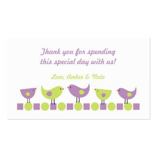 Etiqueta púrpura y chartreuse del favor de la tarjetas de visita