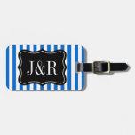 Etiqueta rayada azul y blanca personalizada del eq etiqueta de equipaje