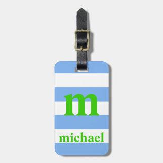 Etiqueta rayada azul y verde del equipaje