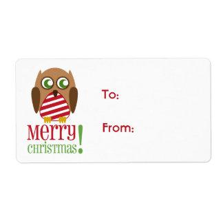 Etiqueta rayada del regalo del navidad del búho etiquetas de envío