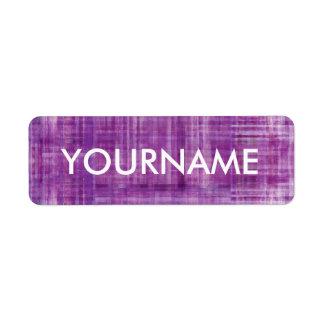 Etiqueta rayada púrpura del nombre del modelo del etiqueta de remitente