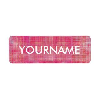 Etiqueta rayada rosada del nombre del modelo del etiqueta de remite