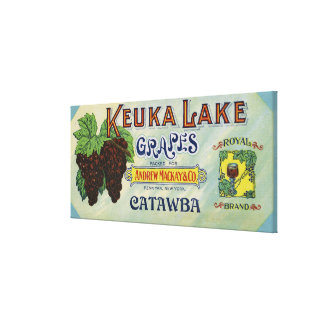 Etiqueta real de las uvas del lago Keuka de la mar Lona Envuelta Para Galerías