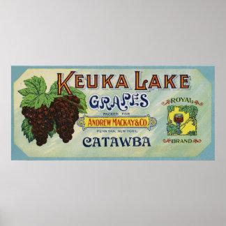 Etiqueta real de las uvas del lago Keuka de la mar Póster
