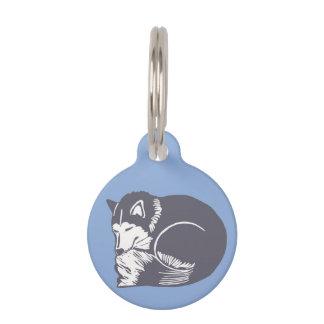 Etiqueta redonda de encargo azul fornida del identificador para mascota