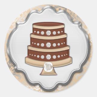 Etiqueta redonda de la panadería de la torta del