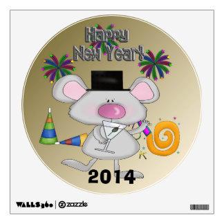 Etiqueta redonda de la pared del ratón del Año Nue