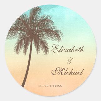 Etiqueta redonda del favor del boda de la palmera