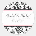 Etiqueta redonda del favor del boda del damasco