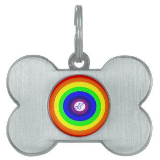 Etiqueta redonda del mascota del arco iris de los  placa mascota
