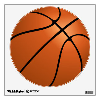 Etiqueta redonda grande de la pared del baloncesto vinilo adhesivo
