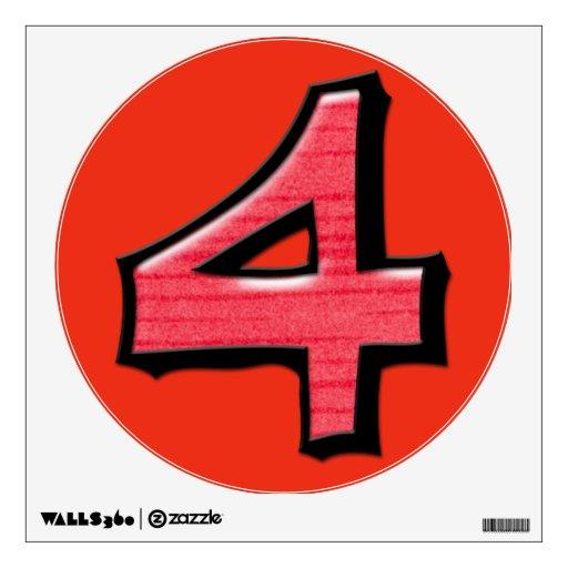 Etiqueta redonda roja de la pared del número 4 ton