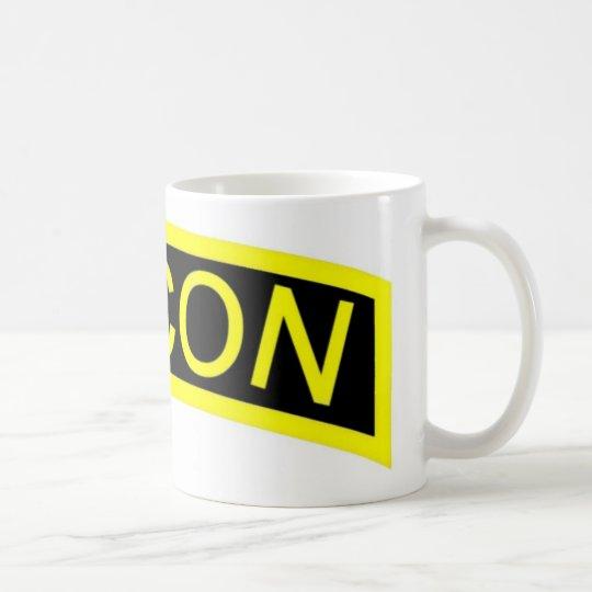 Etiqueta renovada amarilla taza de café