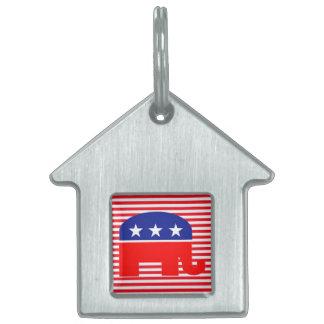 etiqueta republicana del mascota del elefante placa mascota