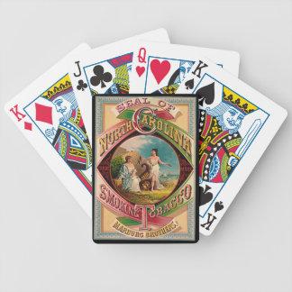 Etiqueta retra 1879 del tabaco baraja de cartas bicycle