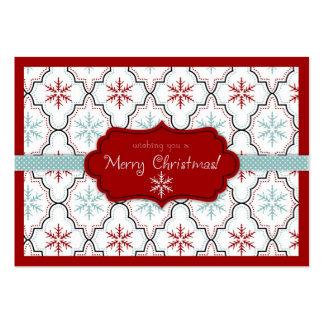 Etiqueta retra 2 del regalo de los copos de nieve tarjetas de visita grandes