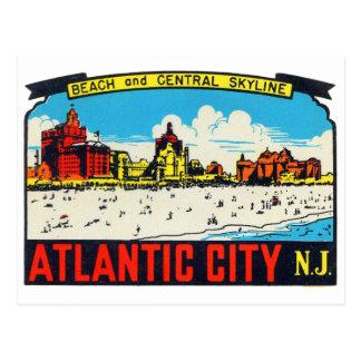 Etiqueta retra Atlantic City, NJ del kitsch del Tarjetas Postales