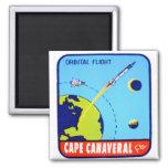 Etiqueta retra de Cabo Cañaveral del espacio del v Imán Cuadrado