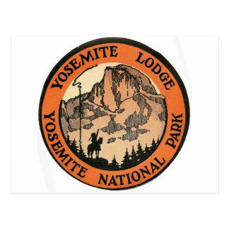 Etiqueta retra de la casa de campo de Yosemite del Postal