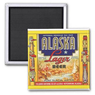 Etiqueta retra de la cerveza dorada de Alaska de l Imán Cuadrado