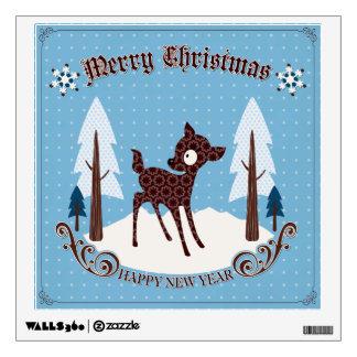 Etiqueta retra de la pared del navidad de los