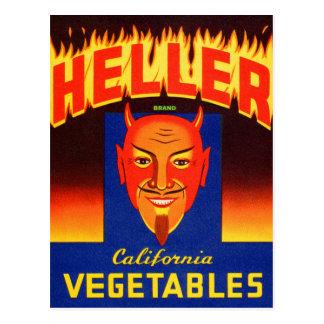 Etiqueta retra de las verduras del diablo de postal