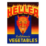 Etiqueta retra de las verduras del diablo de tarjetas postales