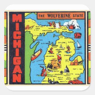 Etiqueta retra de Michigan Wolverine del kitsch
