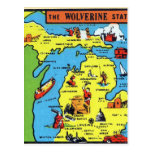 Etiqueta retra de Michigan Wolverine del kitsch Tarjetas Postales