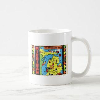 Etiqueta retra de Michigan Wolverine del kitsch Taza De Café