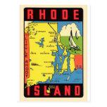 Etiqueta retra de Rhode Island Rhody del kitsch Tarjetas Postales