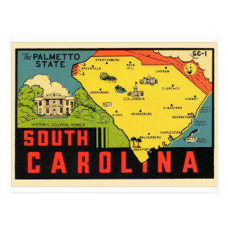 Etiqueta retra del Palmetto de Carolina del Sur de Postal