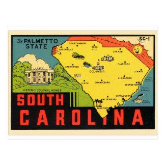 Etiqueta retra del Palmetto de Carolina del Sur Postales