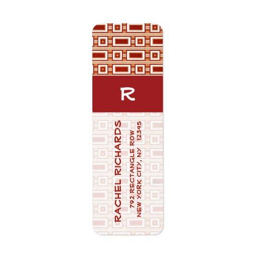 Etiqueta retra del remite de los rectángulos - etiqueta de remitente