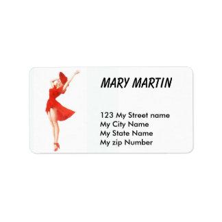 Etiqueta retra del vintage rojo del vestido, etiquetas de dirección