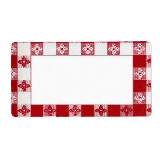 Etiqueta retra roja y blanca etiquetas de envío
