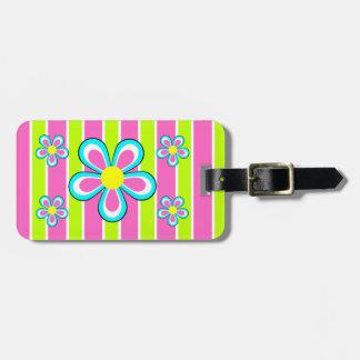 Etiqueta retra rosada linda del equipaje de la etiquetas bolsa