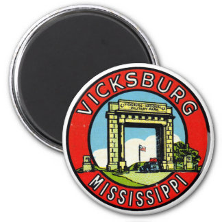 Etiqueta retra Vicksburg Mississippi del kitsch de Imán Redondo 5 Cm