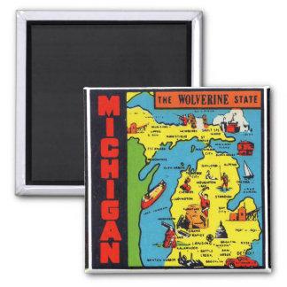 Etiqueta retra Wolverine de Michigan del vintage d Imán Cuadrado