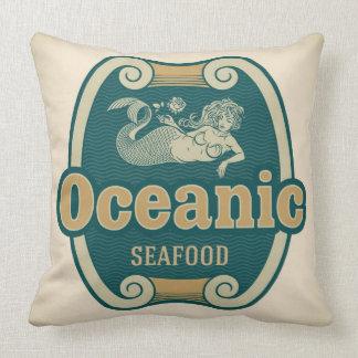 etiqueta Retro-diseñada de los mariscos de la sire Cojines
