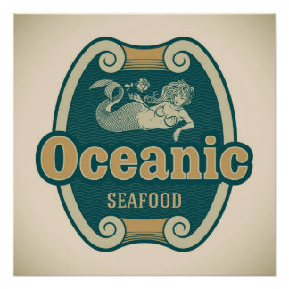 etiqueta Retro-diseñada de los mariscos de la sire Póster