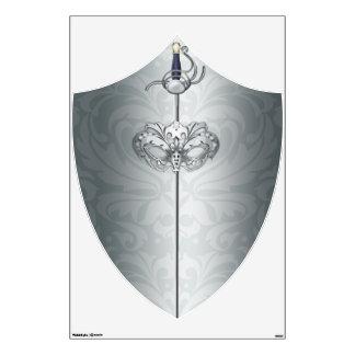 Etiqueta rococó romántica de la pared de la plata